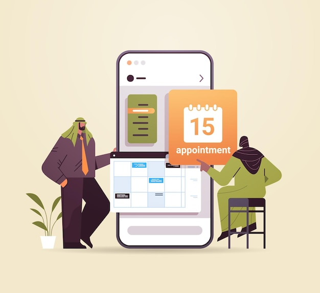 Les hommes d'affaires arabes planifient un rendez-vous de planification d'une journée dans le calendrier sur la gestion du temps de l'écran du smartphone