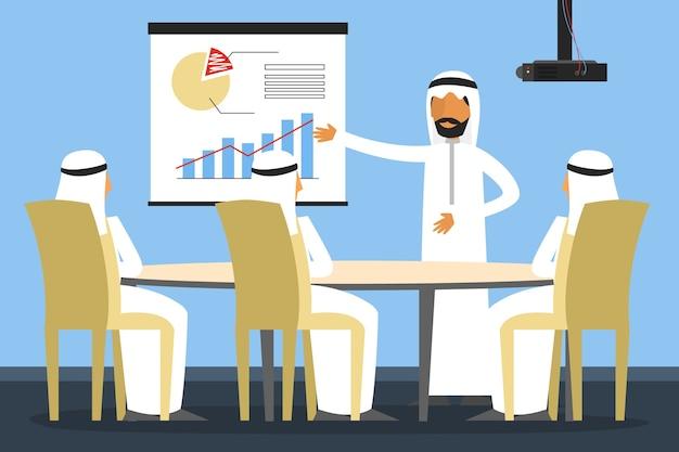 Hommes d'affaires arabes sur la réunion de bureau