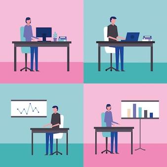 Hommes d'affaires au bureau