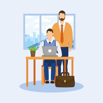 Hommes affaires, bureau, ordinateur portable, cactus