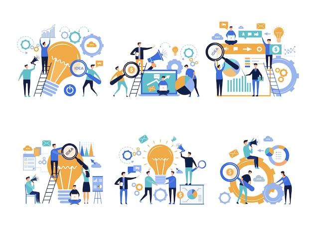 Hommes d'affaires. chefs de bureau faisant la promotion et l'annonce de divers produits personnages publicitaires créatifs en marketing numérique