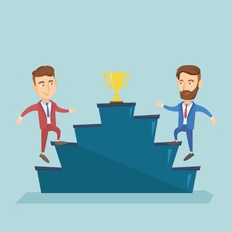 Les hommes d'affaires en compétition pour le prix de l'entreprise.