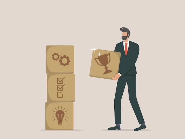 Les hommes d'affaires conçoivent des étapes vers le succès