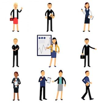 Hommes d'affaires en costume, personnages d'employés de bureau illustrations