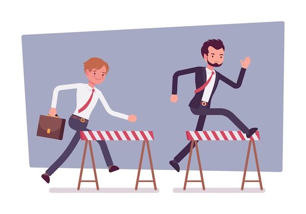 Hommes d'affaires courant sur les obstacles