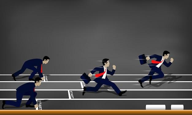 Les hommes d'affaires courent à la ligne d'arrivée à l'illustration de la réussite