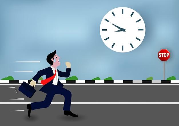 Les hommes d'affaires courent vont au travail course contre la montre