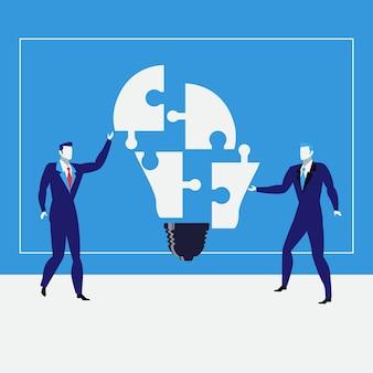 Hommes d'affaires créant des idées, illustration vectorielle