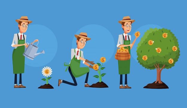 Hommes affaires, cultiver, argent, usines, caractère, ensemble