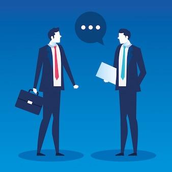 Hommes affaires, à, curriculum vitae, et, valise, recherche, travail