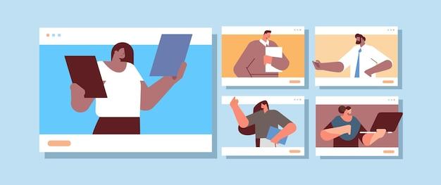 Hommes d'affaires dans des fenêtres de navigateur web discutant lors d'un appel vidéo équipe d'hommes d'affaires conférence virtuelle communication en ligne travail d'équipe