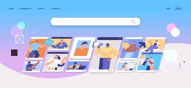 Hommes d'affaires dans des fenêtres de navigateur web discutant pendant un appel vidéo conférence virtuelle communication en ligne travail d'équipe