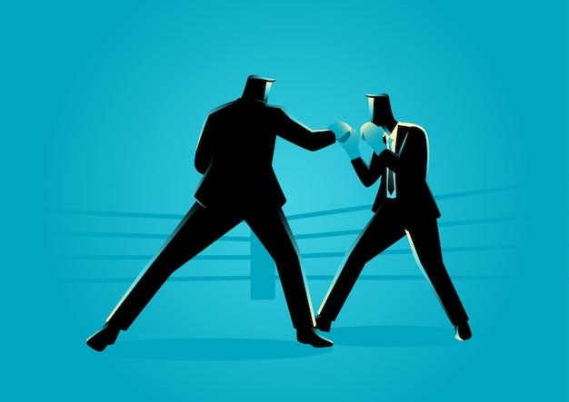 Hommes d'affaires dans un ring de boxe se battre les uns les autres