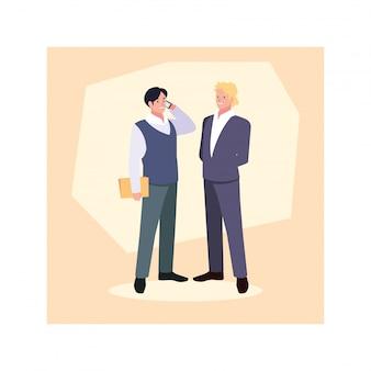 Hommes affaires, debout, bureau, affaires, professionnel, hommes