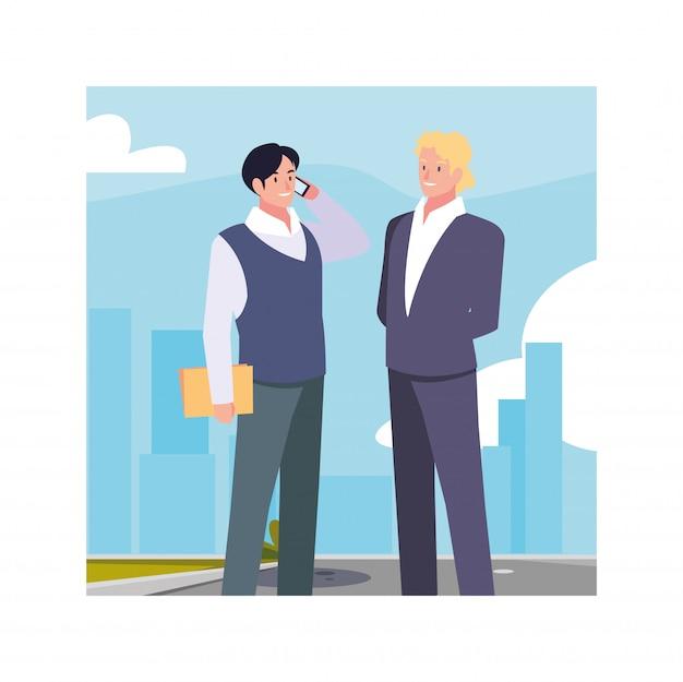 Hommes affaires, debout, urbain, rue, affaires, professionnel, hommes