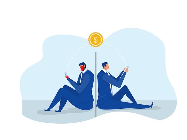 Hommes d'affaires déguisés pour effectuer un illustrateur de vol de transfert d'argent en ligne.