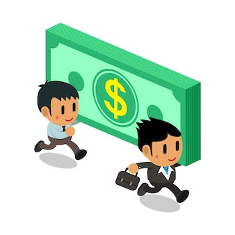 Hommes d'affaires de dessin animé portant une pile de grosses sommes d'argent