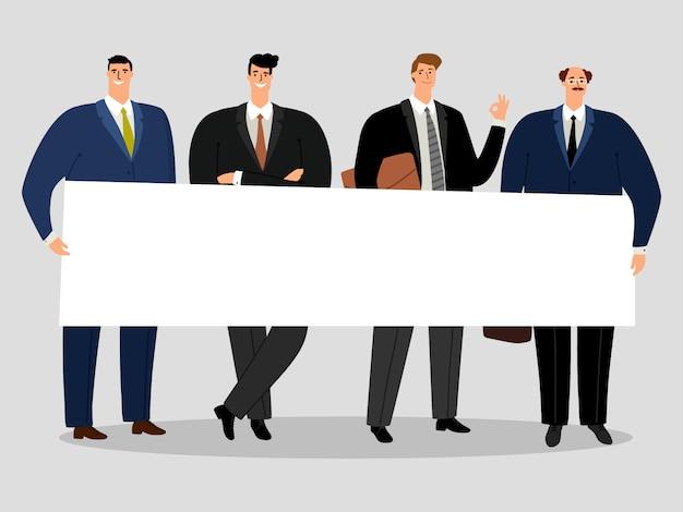 Hommes d'affaires détenant la bannière. groupe d'activistes masculins illustration