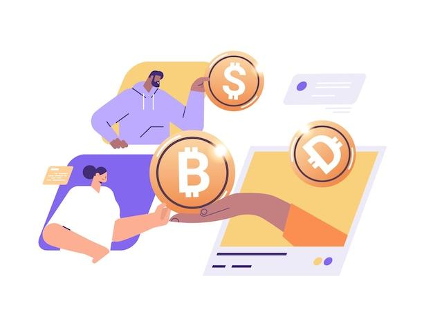 Les hommes d'affaires détenant des pièces de monnaie crypto dorées l'exploitation minière de l'argent virtuel monnaie numérique blockchain technologie concept portrait illustration vectorielle horizontale