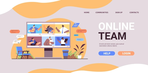 Hommes d'affaires discutant lors d'un appel vidéo sur écran de moniteur équipe de gens d'affaires utilisant le travail d'équipe de communication en ligne de conférence virtuelle