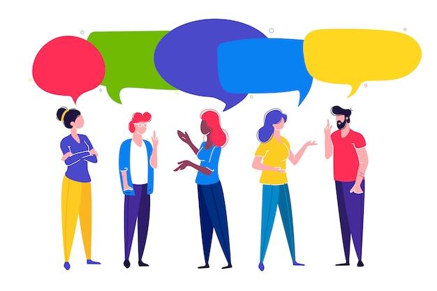 Hommes d'affaires discutent du réseau social