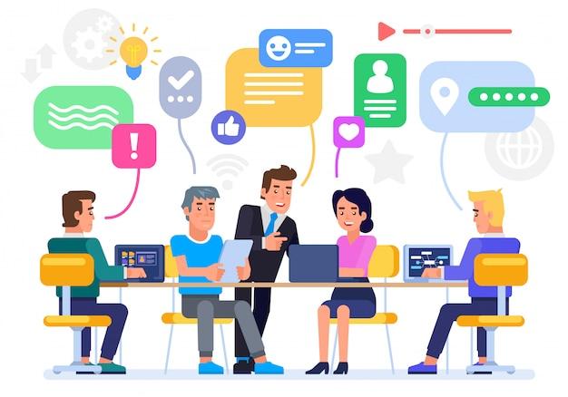 Les hommes d'affaires discutent des réseaux sociaux, des nouvelles, des réseaux sociaux