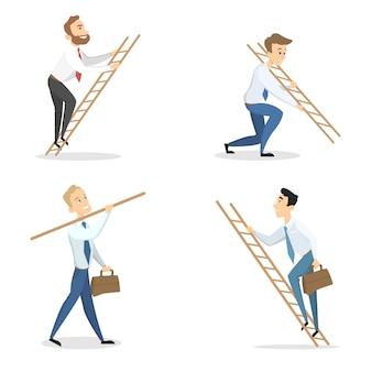 Hommes d'affaires avec échelles de carrière sur blanc.