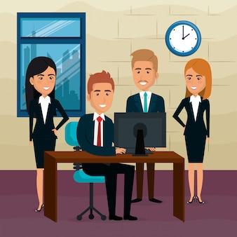 Hommes d'affaires élégants dans la scène de bureau
