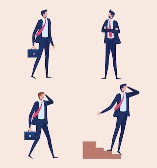 Hommes d'affaires élégants travailleurs debout caractères vector illustration design