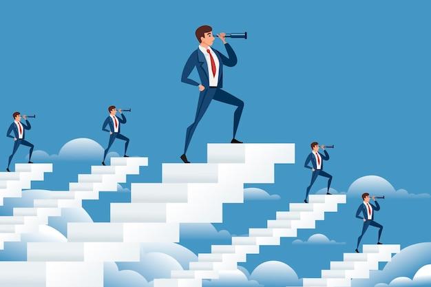 Hommes d'affaires sur des escaliers blancs regardant à l'avenir avec une illustration vectorielle de spyglass cartoon design