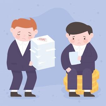 Les hommes d'affaires de la faillite avec du papier de dette et des pièces de monnaie crise financière de l'entreprise