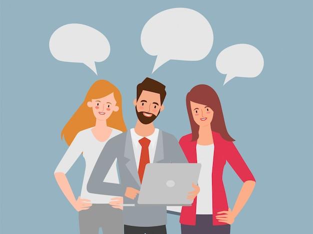 Hommes d'affaires et femmes d'affaires discutant des idées pour le remue-méninges. bande dessinée illustration vectorielle abstraite dans un style plat.