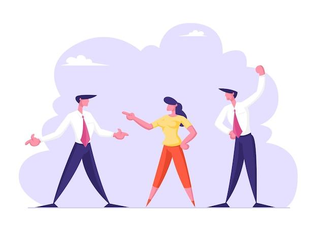 Hommes d'affaires et femmes d'affaires ennemis ou adversaires se disputent et se fixent