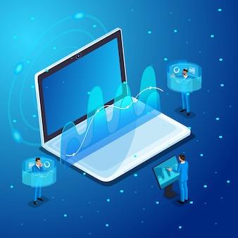 Hommes d'affaires avec gadgets, travail sur écrans virtuels, gestion en ligne d'appareils électroniques, lunettes virtuelles, réalité virtuelle