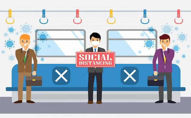 Les hommes d'affaires maintiennent une distance sociale dans le train