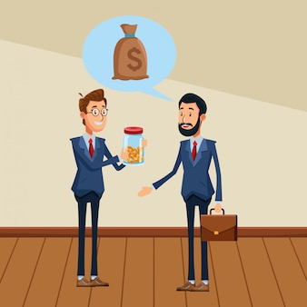 Hommes d'affaires avec mallette