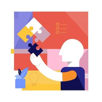 Les hommes d'affaires mettent la dernière pièce de puzzle, service aux entreprises à succès