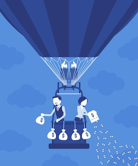 Les hommes d'affaires en montgolfière investissent de l'argent pour un profit futur. l'homme d'affaires et la femme d'affaires dépensent beaucoup pour la richesse, les actifs pour produire des revenus et du capital. illustration vectorielle, personnages sans visage