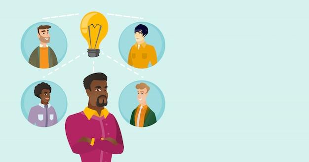 Hommes d'affaires multiraciales discutant d'idées commerciales.