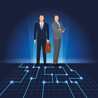 Hommes d'affaires avec paysage numérique