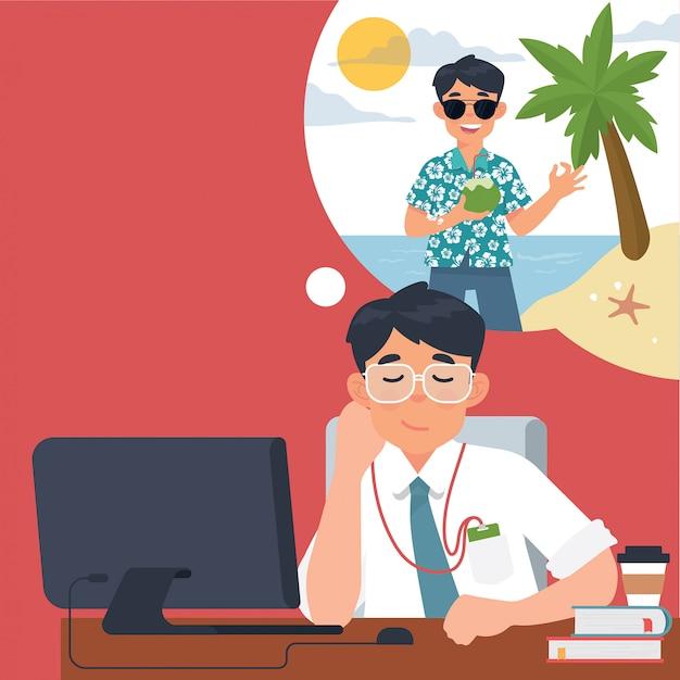Les hommes d'affaires pensent aux vacances au bureau