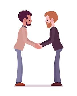 Hommes d'affaires en poignée de main à deux mains