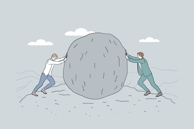 Hommes d'affaires ou politiciens personnages de dessins animés poussant une énorme pierre les uns contre les autres
