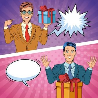 Hommes d'affaires de pop art avec dessin animé de coffrets cadeaux