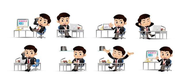 Hommes d'affaires avec des poses différentes