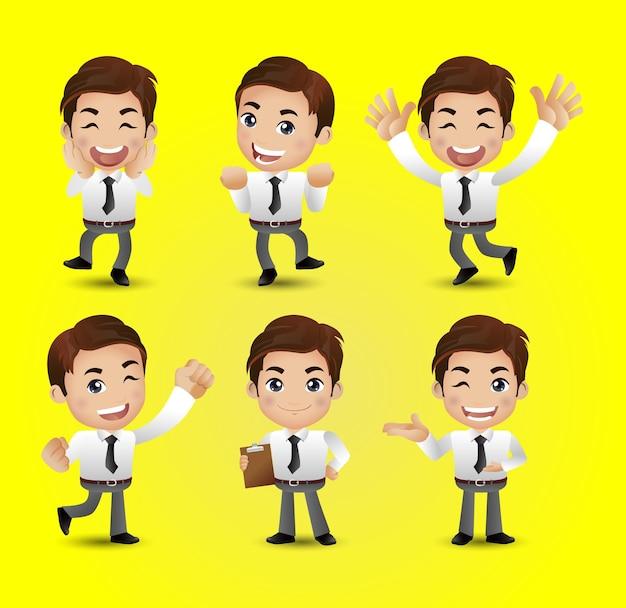 Hommes d & # 39; affaires avec des poses différentes