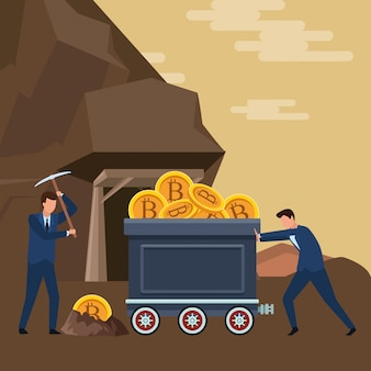 Hommes d'affaires poussant un chariot minier avec crypto-monnaie