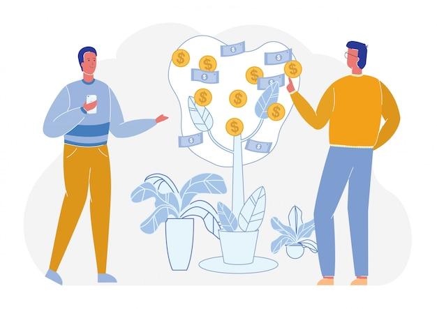 Les hommes d'affaires prospères font pousser de l'argent dans l'arbre financier.