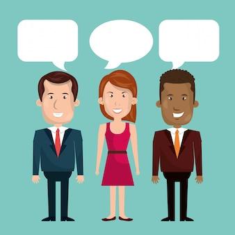 Hommes d'affaires qui parlent