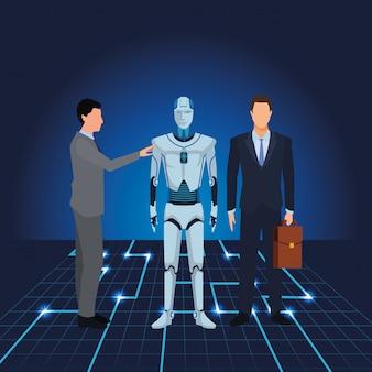 Hommes d'affaires avec robot humanoïde